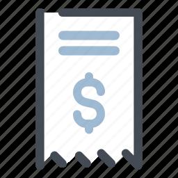 bill, dollar, finance, money, payment, receipt, transaction icon