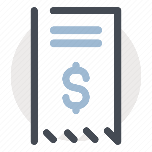 accounting, bill, cash, dollar, ecommerce, receipt, shopping icon