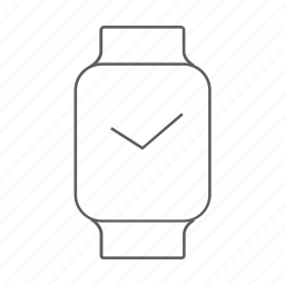 apple, apple watch, outlined, time, watch icon