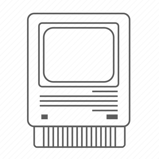 apple, computer, macintosh, outlined, se icon