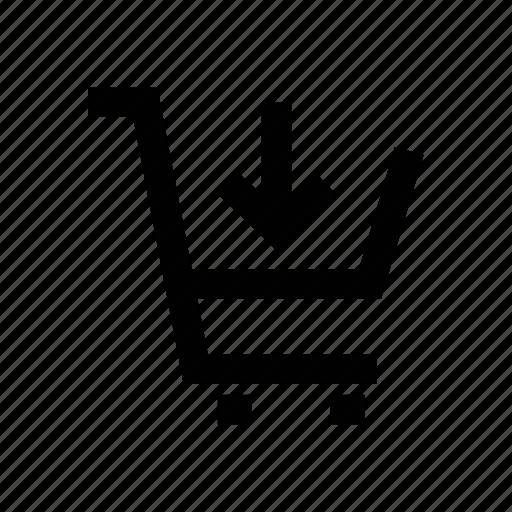 cart, down arrow, shopping cart, shopping trolley, trolley icon