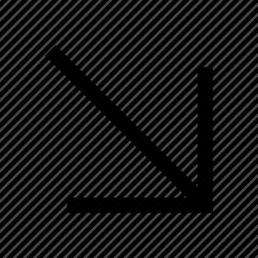 arrow, bottom, direction, east south arrow, right, tiny arrow icon