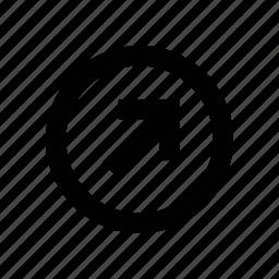 arrow, diagonal, right, right arrow, right sign, sign icon