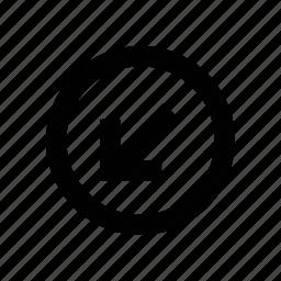 arrow, diagonal, left, left arrow, left bottom, left sign, south west icon