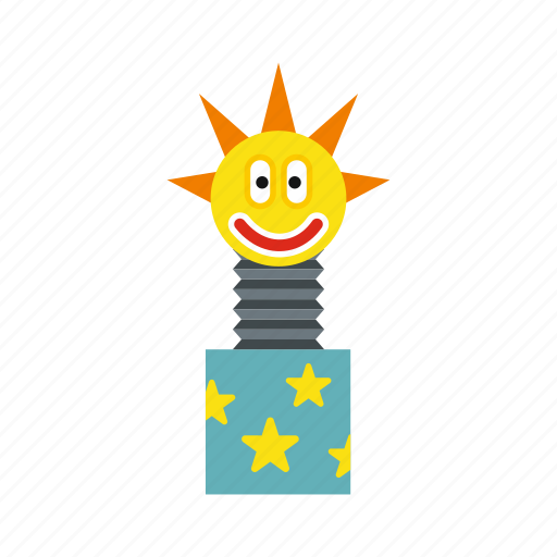 box, fun, gift, jumping, out, surprise, toy icon