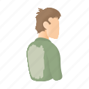 back, cartoon, funny, happy, man, shirt, stained icon
