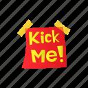 cartoon, comic, fool, funny, kick, note, paper icon