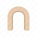 arch, architecture, brick, frame, modern, semicircular, shape icon