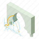 ancient, arch, construction, entrance, frame, isometric, object