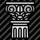 ancient, antique, architecture, classic, column, corinthian icon
