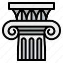 ancient, architecture, classic, column, ionic icon