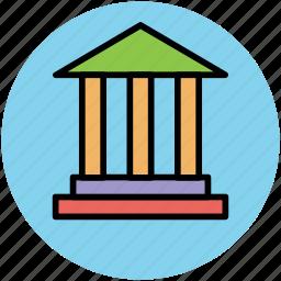 bank, bank building, building columns, building exterior, courthouse icon