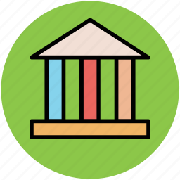 bank, bank building, building columns, building exterior, courthouse icon