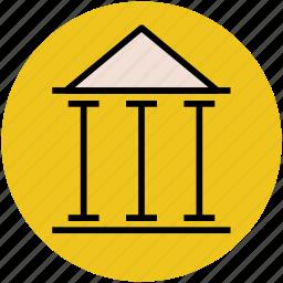 bank, building, building columns, bureau, finance, office, pantheon, rome icon