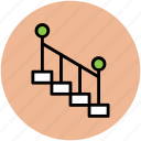 downward, indoor, staircase, stairs, stairway, upward icon