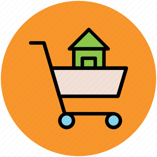 eshop, house inside cart, infographic element, online shopping, shopping cart, web element icon