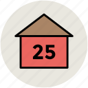 house, house address, house number, numeracy, twenty five icon
