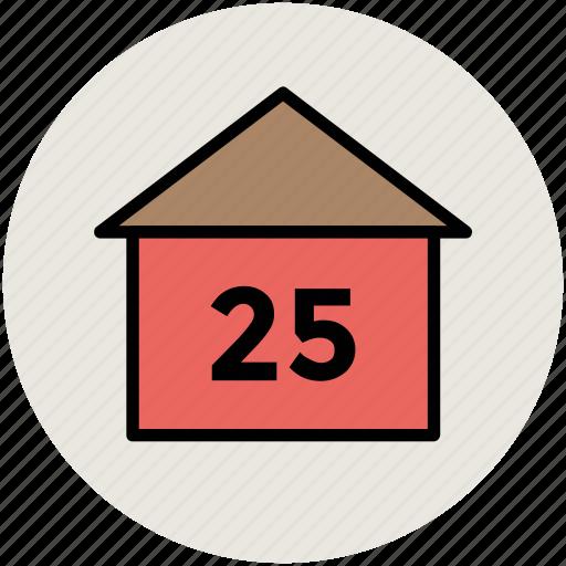 house, house address, house number, numeracy, twenty five icon