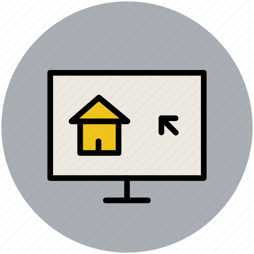 house display, monitor screen, mouse arrow, online activity, search building, search home icon