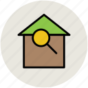 find, find building, inspection, magnifying, search building icon