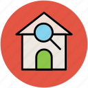 building, find, inspection, magnifier, magnifying, real, search icon