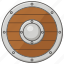 buckler, round, shield, viking, wooden icon