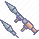 arm, armament, arms, firearm, rpg, weapon, weaponry icon