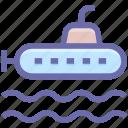 army, equipment, military, ocean, submarine, vehicle icon