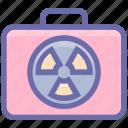 army, baggage, danger, dangerous, luggage, military, radioactive, warning icon