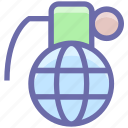 army, bomb, equipment, explosion, grenade, hand bomb, hand grenade, military, navy, war, weapon icon