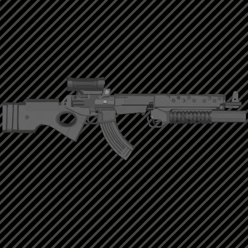 auto, gun, military, modern, riffle, terrorist, weapon icon