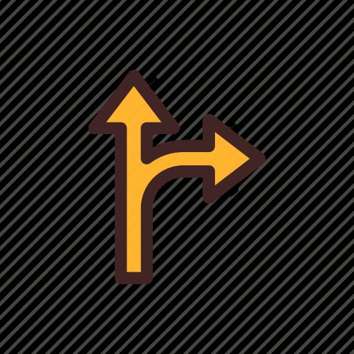 arrow, detour, direction, location, navigation, up icon