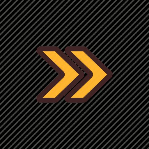 arrow, fast, forward, right, turn icon