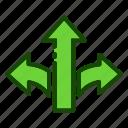 arrow, arrows, direction, move, three ways
