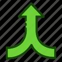 arrow, converge, direction, up