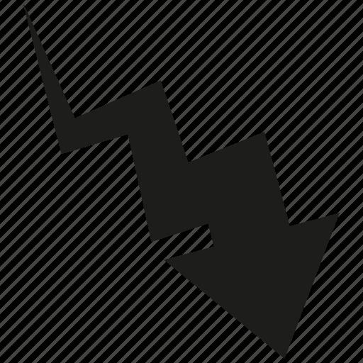 arrow, cursor, curve, direction, down icon