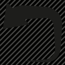 arrow, cursor, curve, direction, reload icon