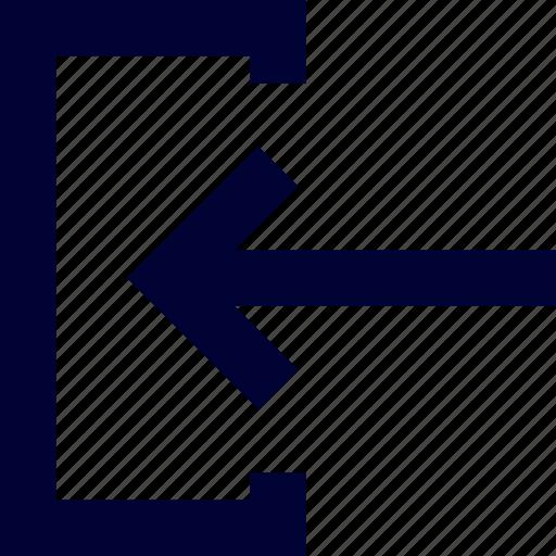 arrow, inside, left, square, ui, user interface icon