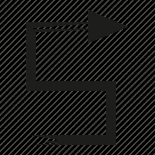 arrow, brush, diretion, sketch, way, zigzag icon
