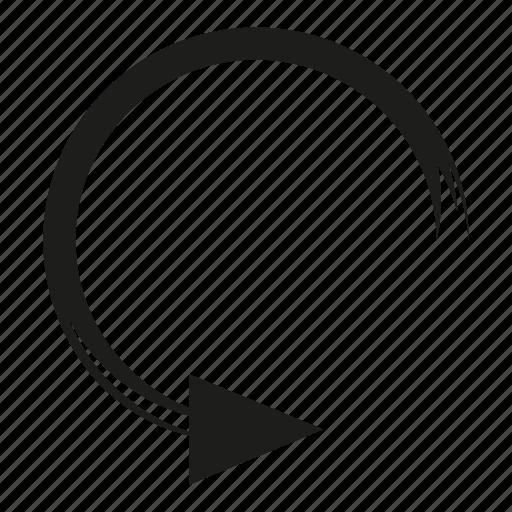 arrow, brush, circle, diretion, loading, reload, sketch, way icon