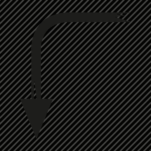 arrow, brush, diretion, down, sketch, way icon
