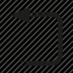 arrow, brush, diretion, left, sketch, way icon