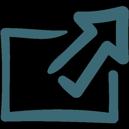 arrow, doodle, export icon