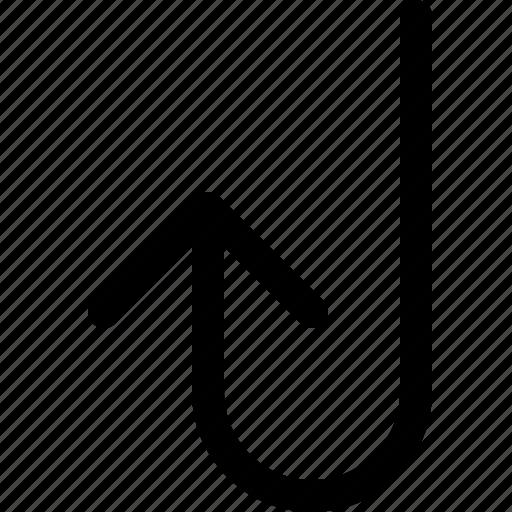 arrow, back, turn, up icon