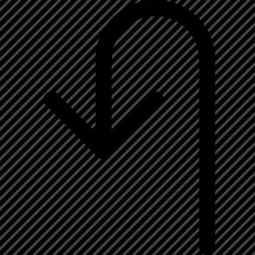 arrow, back, down, turn icon