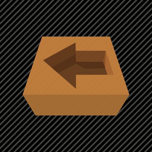 arrow, box, cardboard, carton, cartoon, pack, paper icon