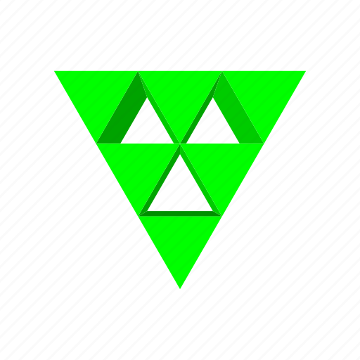 abstract, arrow, cartoon, design, fun, green, triangle icon