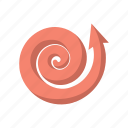 arrow, cartoon, curling, curve, pink, spiral, up icon