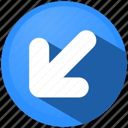 arrow, direction, down, left, menu, navigation, tip icon