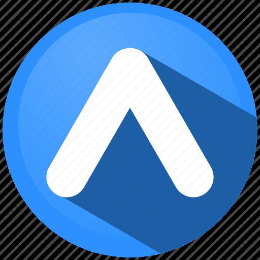 arrow, creative, direction, menu, tip, up, upload icon